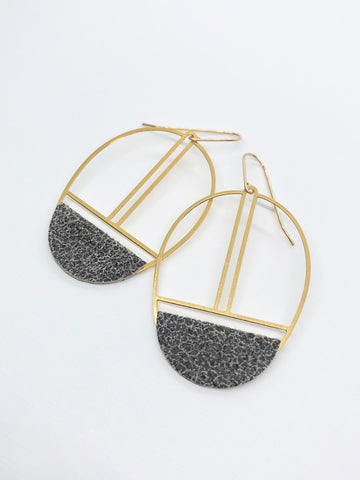 Crackled Grey Leather Earrings