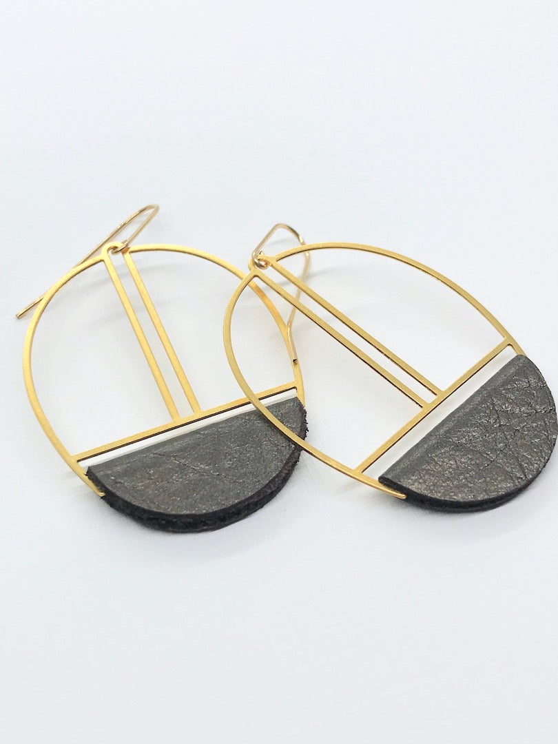 Bronze Leather Earrings