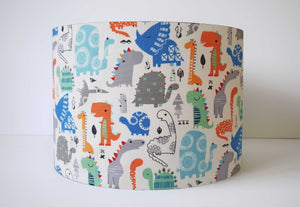 Blue and orange dinosaur lampshade for kids