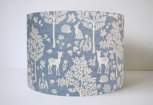 blue woodland animal lampshade in Scandinavian style