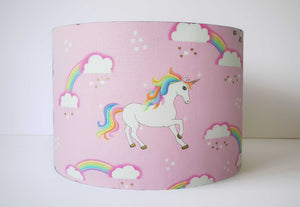 pink unicorn lampshade with rainbow and clouds