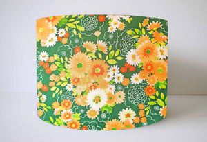 Green and orange retro floral lampshade in 70s style
