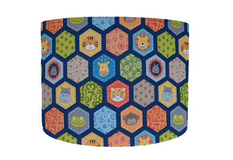 Blue hexagon safari animal lampshade