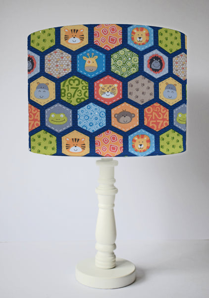 Jungle themed table lamp shade blue