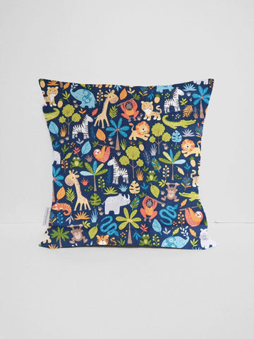 Blue jungle animal nursery cushion cover