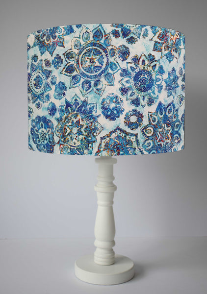 Blue and white mandala table lamp shade