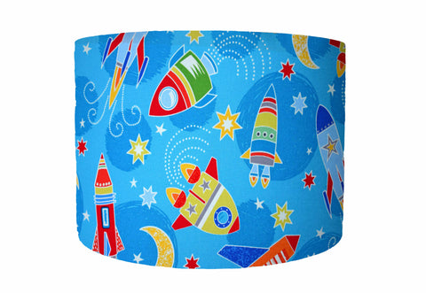 blue space rocket lampshade