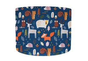 Blue woodland themed lampshade