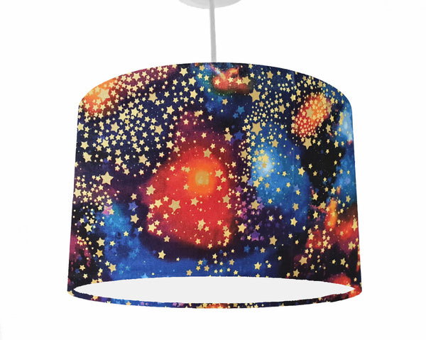 Galaxy with gold star ceiling pendant
