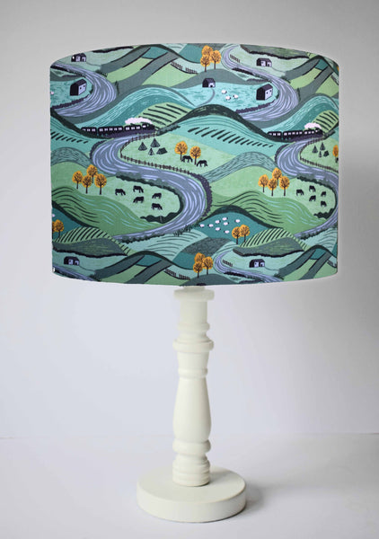 Green Yorkshire Dale Scenic table lamp