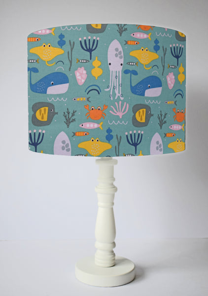 Green sea life table lampshade