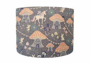 Grey And Pink Fairy Lights, Unicorn and Toadstool Lampshade, Girl Bedroom Decor