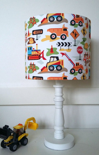 digger and truck table lamp shade