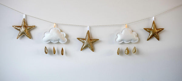 glitter cloud and star hanging decoration baby room