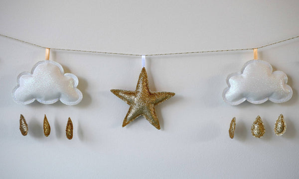 Gold Star And White Cloud Garland, Glitter Star Nursery Decor