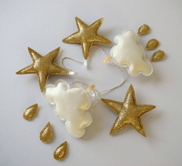 gold star and white cloud hanging decor