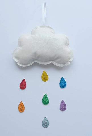 White Cloud Mobile With Rainbow Raindrops