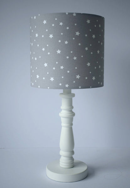 Silver Grey Star Lampshade, Neutral Star Nursery Lighting