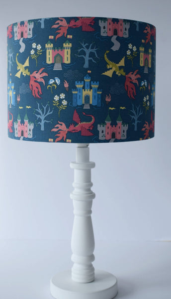 dragon and castle on blue table lamp shade kids