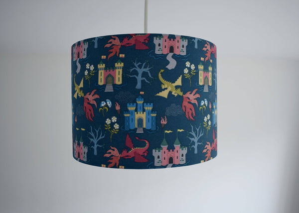 kids blue dragon and castle scene ceiling pendant light shade