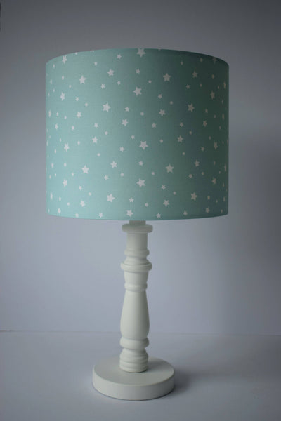 mint and white star table lamp shade children