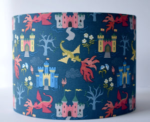 blue dragon and castle kid lampshade