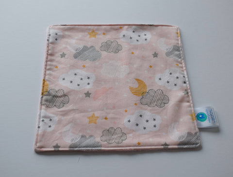 Pink And Grey Cloud Baby Blankie, Girl Baby Comforter