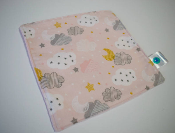 pink and grey cloud blankie