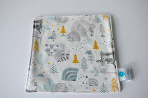 blue and grey woodland animal blankie