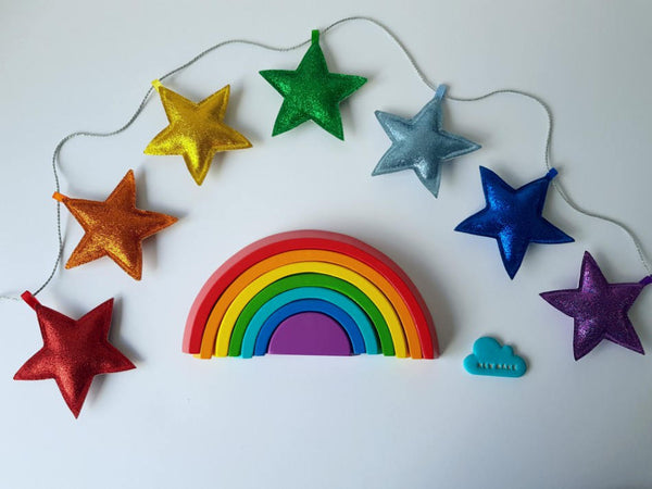 Rainbow Stars Hanging Garland, Colourful Nursery Wall Decor