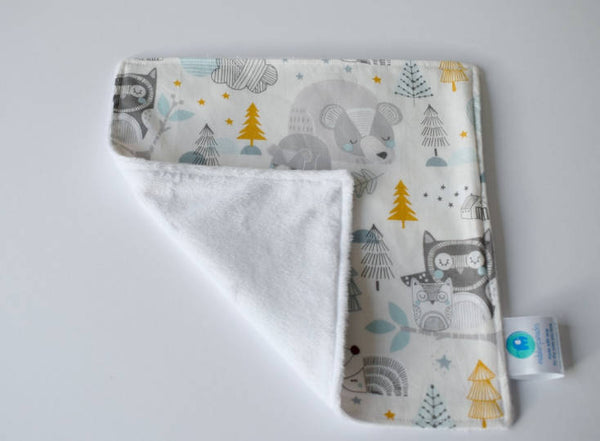 Blue Woodland Lovey, Woodland Nursery Gift, Boy Security Blanket