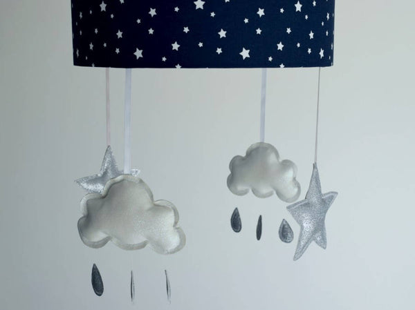 navy star lampshade with star and cloud mobile nursery