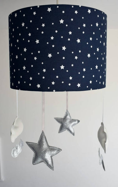 Navy Star Mobile Ceiling Lampshade, Star And Cloud Mobile Lampshade