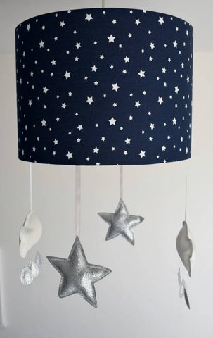 navy mobile lampshade with glitter star and clouds