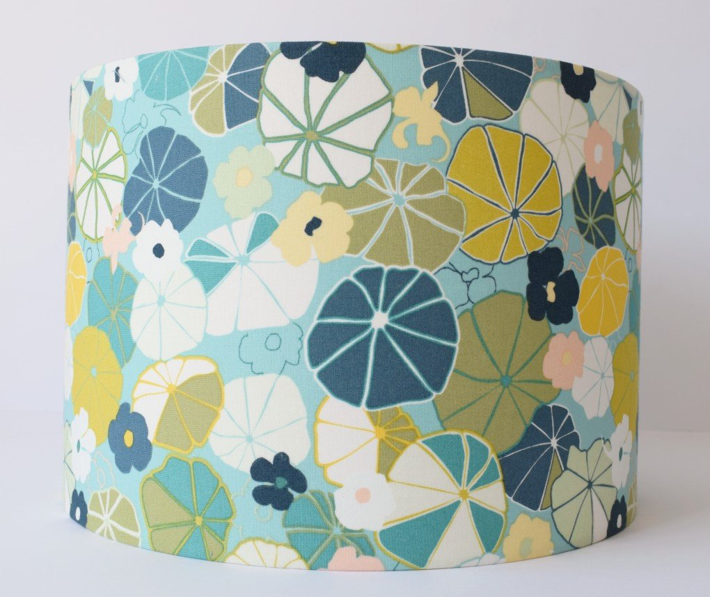 teal blue and chartreuse floral lampshade