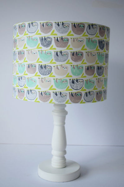 Mint And Grey Sloth Lampshade, Sloth Home Gift