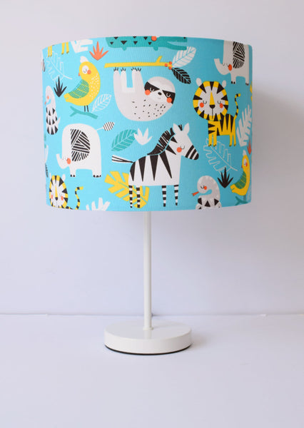 Blue Jungle Animal Lampshade, Safari Animals Nursery Decor