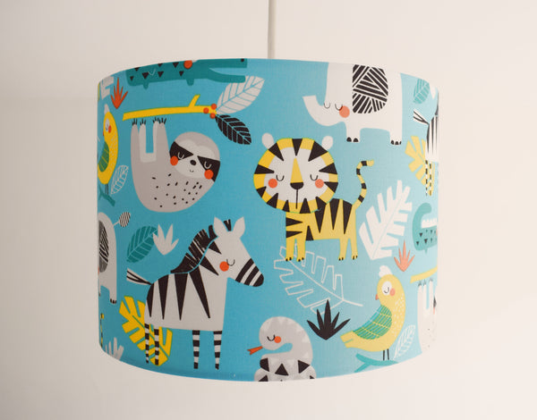 safari animal blue ceiling pendant light shade for children