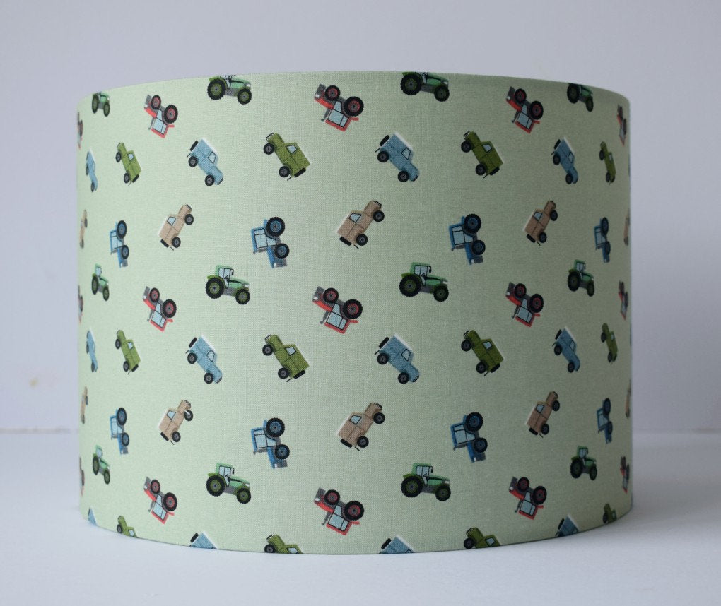 sage green tractor and farm vehicle kids lampshade
