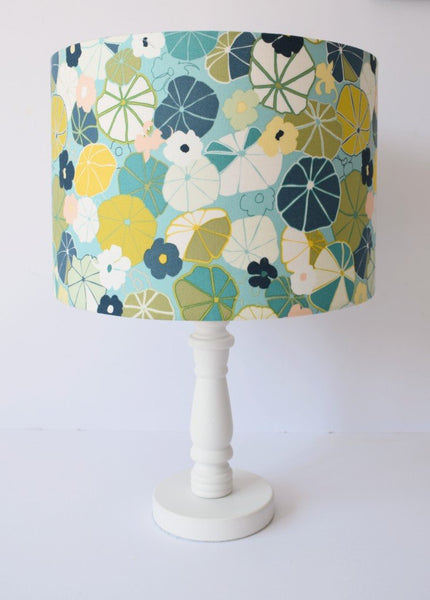 blue and green english garden floral table lampshade