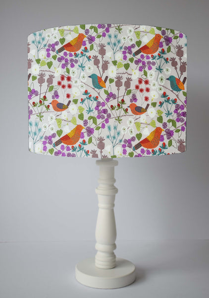 countryside hedgerow with birds table lamp shade
