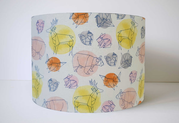 Geomertric Animal Lampshade For Girls, Pink And Gold Nursery Decor