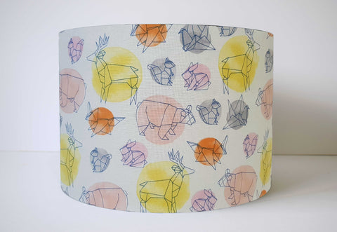 Geometric Animal Lampshade For Girls, Pink And Gold Nursery Decor