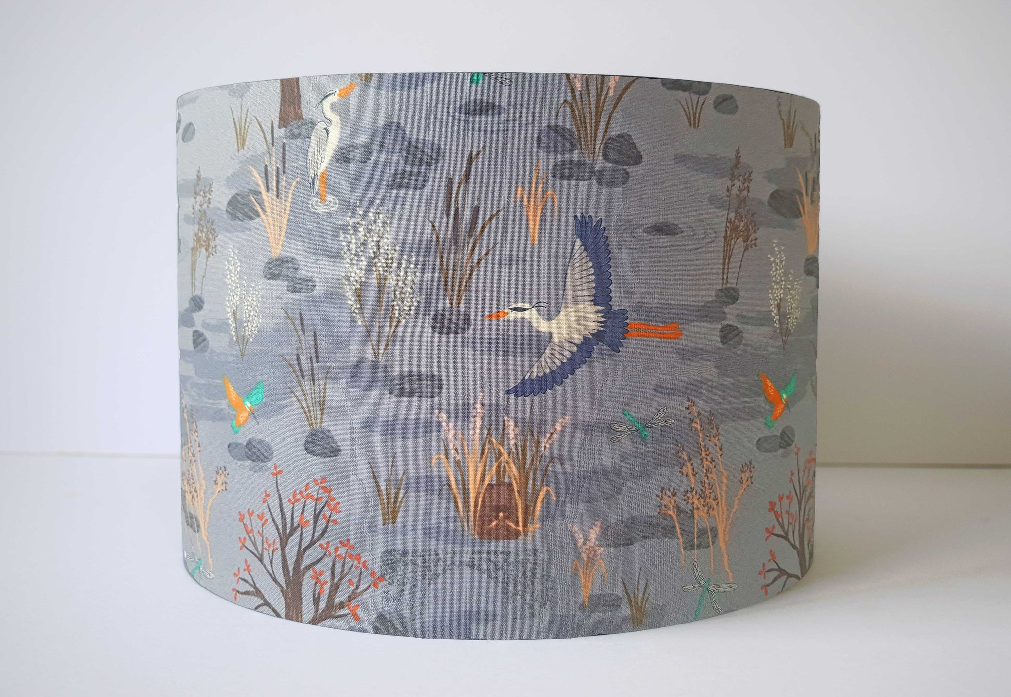 blue grey countryside lampshade