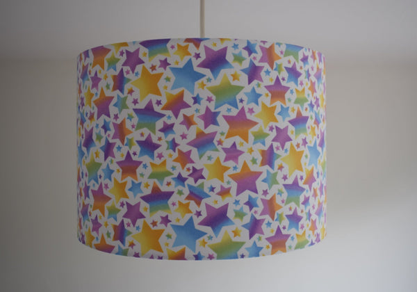 colourful rainbow star ceiling light shade girl