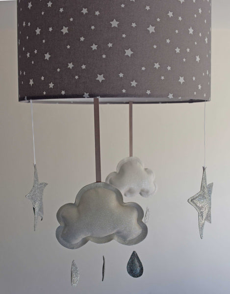 lampshade with mobile, grey star nursery decor