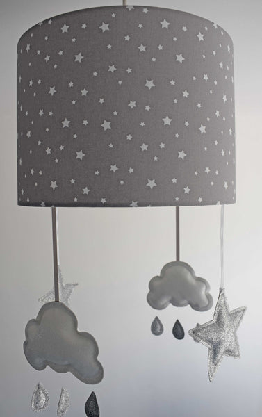 light grey star lampshade with cloud and star mobile
