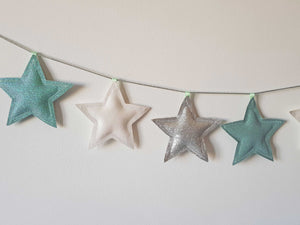 mint, silver and white star garland