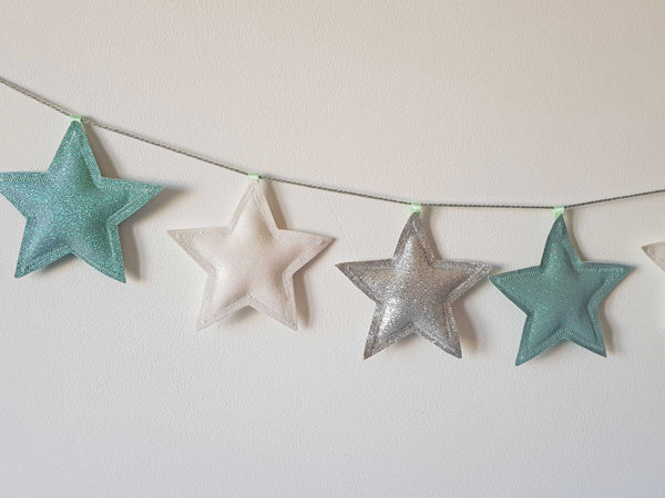 Mint Green And Silver Star Garland, Mint Nursery Accessories