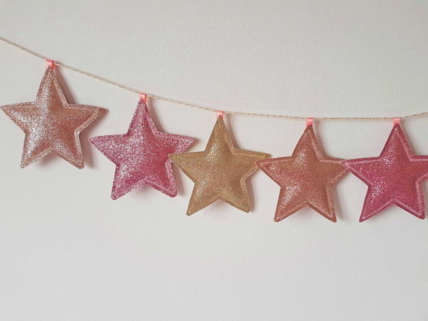 Pink And Gold Star Garland, Rose Gold Nursery Decor Accessories